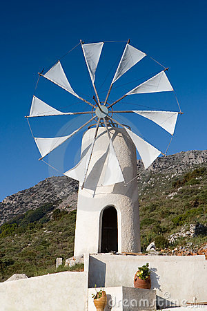 White cretan windmill