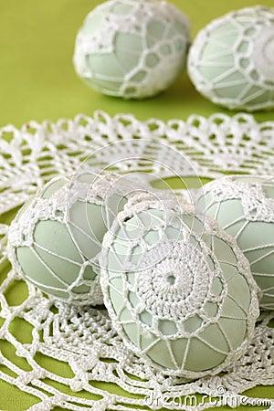 White crochet Easter eggs