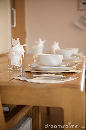 White crockery breakfast place setting