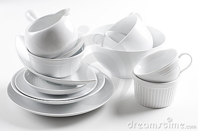 White crockery and kitchen utensils