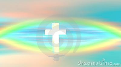 White cross floating in a sky with rainbow