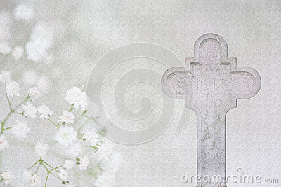 White Cross and Hope Funeral Card