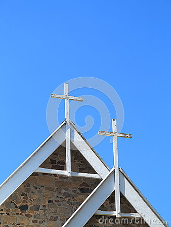 White crosses on chapel roof