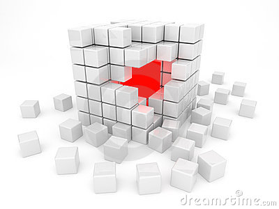White cube 3D. Isolated. Kernel