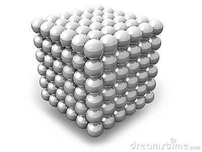 White cube of spheres isolated on white