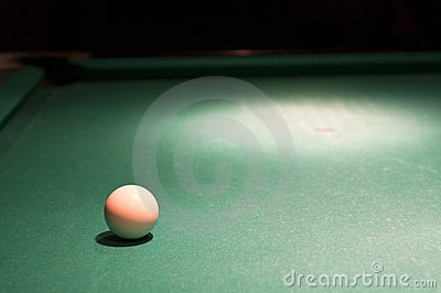 White cue ball on pool table