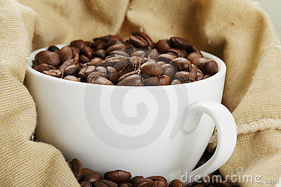 White cup in coffee bag