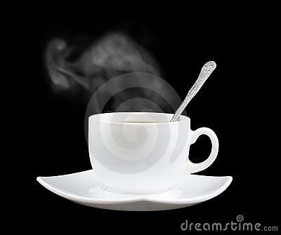 White cup of fresh tea or coffee with vapor