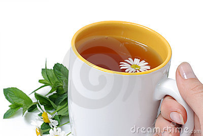 White cup with herbal tea