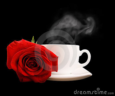 White cup of tea or coffee and red rose isolated