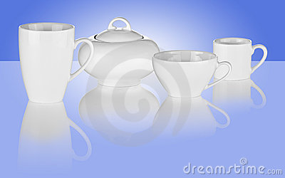 White Cups and Sugar Bowl on Blue Background