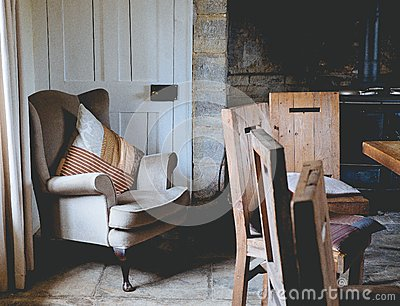 White Cushioned Armchair Beside White Wooden Door Free Public Domain Cc0 Image