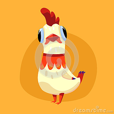 White cute rooster Vector Illustration