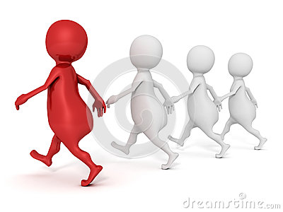 White 3d people walking  with red leader