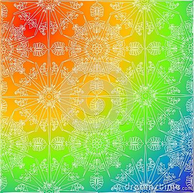 White decoration on rainbow background