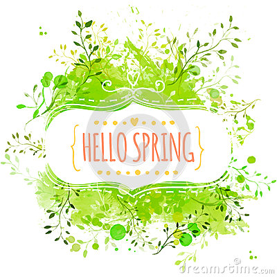 White decorative frame with text hello spring. Green paint splash background with leaves. Fresh vector design for banners, greetin Vector Illustration