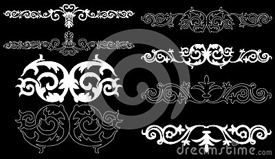 White design elements on a black background