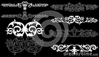 White design elements on a black background