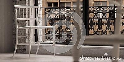 White designer chair in loft
