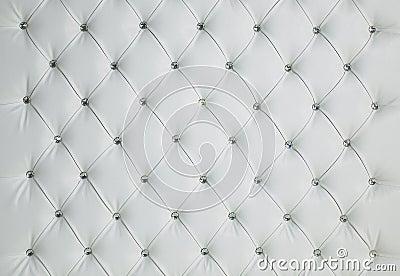 White Diamond Studded Padded Luxury Leather Background