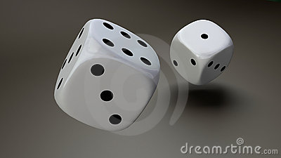 White dice closeup