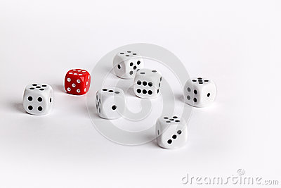 White dice with one red dice