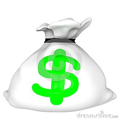 White dollar bag