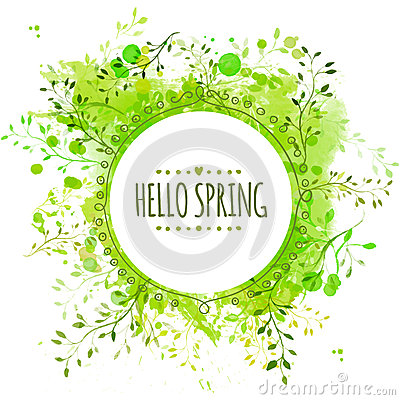 White doodle circle frame with text hello spring. Green paint splash background with leaves. Fresh vector design for banners, gree Vector Illustration