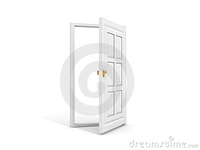 White door opened to white