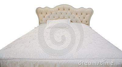 White double bed stock photo image 40324372 for Pillow back bed frame