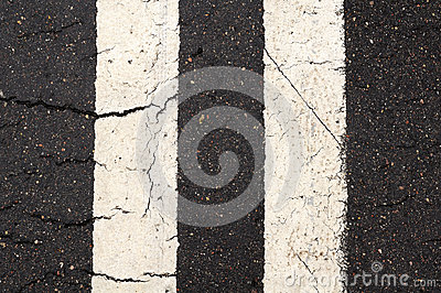 White Double-Line Markings on Road