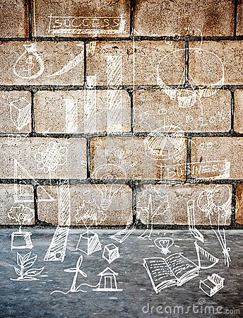 White drawing sketch accessory design on block concrete wall