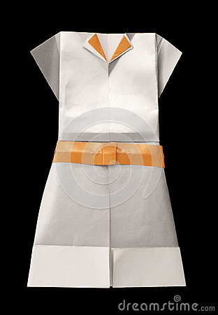 White dress made ​​of paper