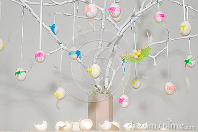 Easter eggs on tree