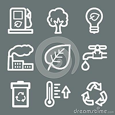 White ecology web icons