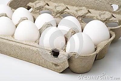 White eggs in the box
