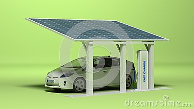 Electric car with electric plug Stock Photo