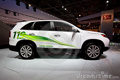 White electric car Kia Sorento Editorial Stock Photo
