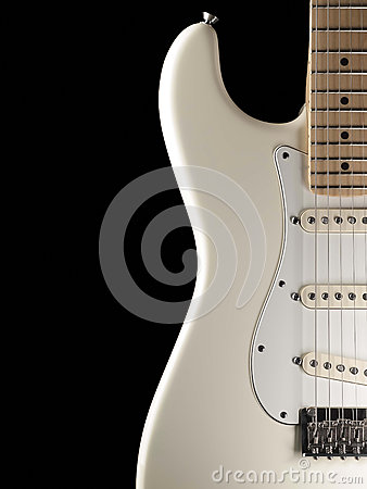 Free White Electric Guitar On Black Background Stock Photos - 35207923