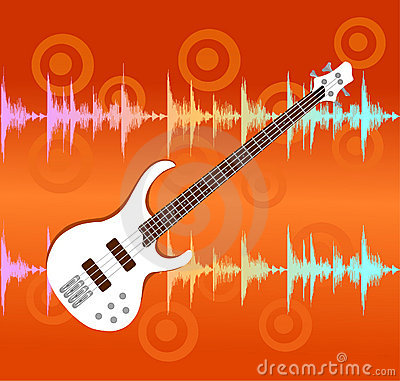 White electro guitar on abstract background