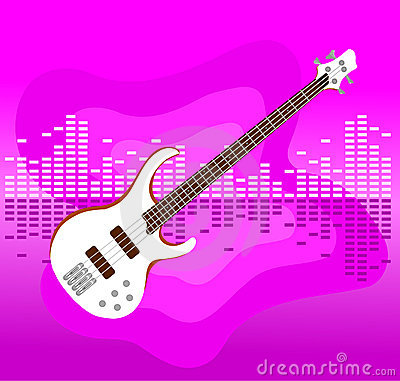 White electro guitar on colorful background