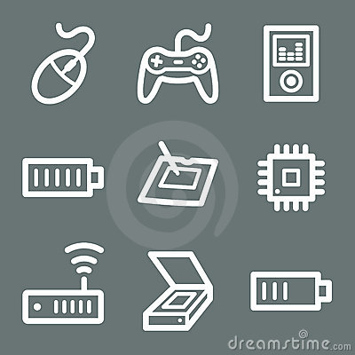 White electronics web icons 2