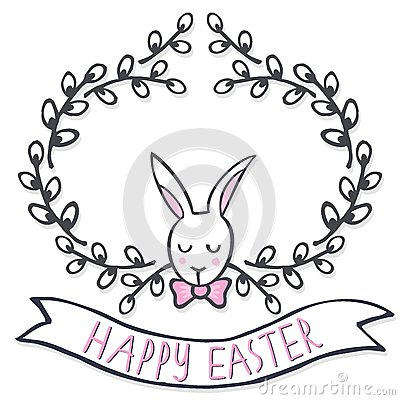 White elegant bunny in willow wreath spring holiday Easter card with wishes Vector Illustration
