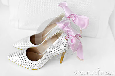 White elegant woman shoes.