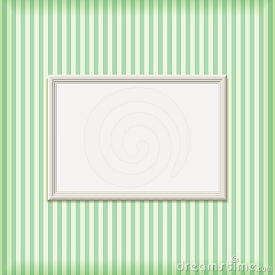 White Empty Ribbed Frame on Striped Wall