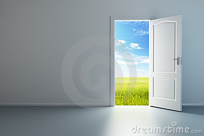 White empty room with opened door
