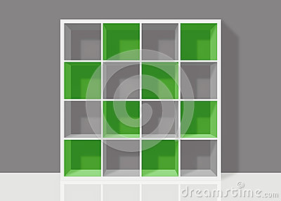 White empty square bookshelf with green elements on grey wall ba
