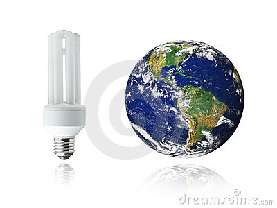 White energy saver bulb and planet Earth