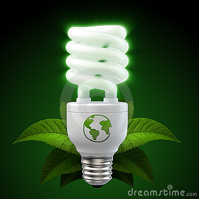 White energy saving light bulb with leafs on black
