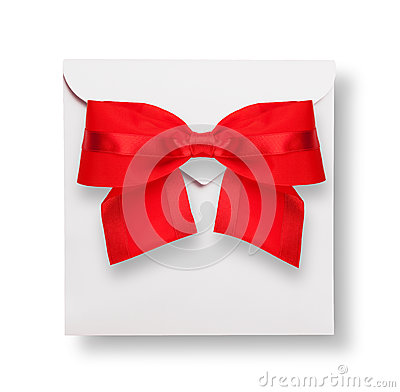 White envelope with red bow